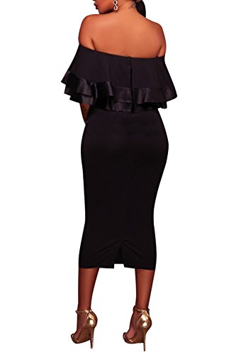 Club Black 1 Dress Shoulder Bodycon Fitted Ruffles Midi Women's Party Wonderoy Off Cocktail qPRXX1