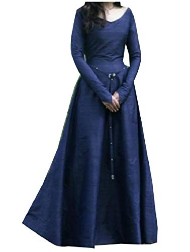c66c8c39aaa8c Coolred-Women Medieval Smocked Waist Solid Colored Retro Style Maxi Dress  Blue