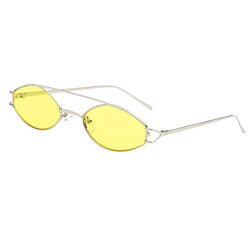 Elípticas amarillo Metal Hombre Gafas de UV para 400 Unisex Homyl Regalo Lentes Protección Solar Sol Mujer Marco wgXan0q