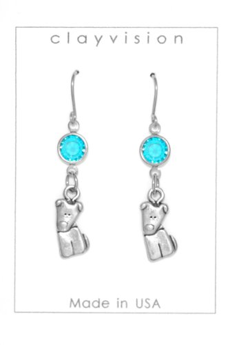Clayvision German Shepherd Beagle Tilt Dog Charm Earrings with Blue Zircon Colored Crystal December (Tilt Womens Ring)
