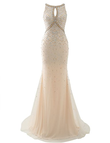Clearbridal Women's Long Mermaid Prom Dresses Sexy 2018 with Beaded Rhinestones Champagne