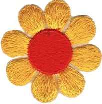 Daisy Flower - Yellow with Orange - Embroidered Sew or Iron on (Funky Daisy)