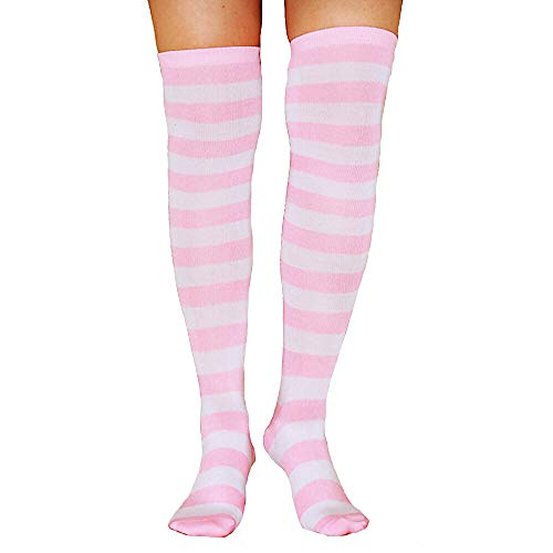 Womens Girls Long Striped Socks Girls Over Knee Thigh High Rainbow Crazy Funny Cute Costume Cosplay Party Stockings (Highs Ribbed Thigh Athletic)