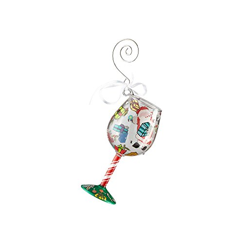 Lolita Mini Wine Glass Ornament with Hanging Hook and Gift Box (A Claus For Celebration) (Wine Lolita Ornament Glass)