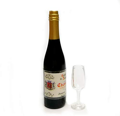 The Best Buy Dollhouse Miniature Accessories Wine Bottle with Clear Acrylic Glass Set 1:12 Scale