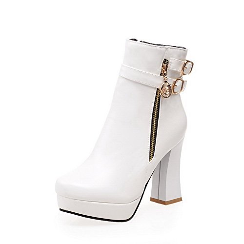 WeiPoot Womens Pu Zipper Solid High-Heels Round Closed Toe Boots, White-Metal Snap, -