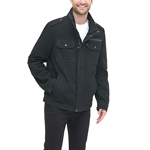 Levi's Men's Washed Cotton Two Pocket Military Jacket (Regular and Big and Tall Sizes), Black, XX-Large (Men Black Jacket Military)