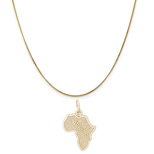 Rembrandt Charms 14K Yellow Gold Africa Charm on a 14K Yellow Gold Curb Chain Necklace, 20'' by Rembrandt Charms