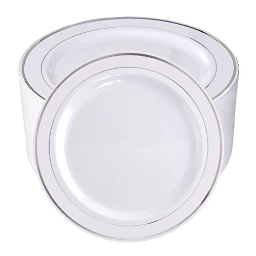 BUCLA 100Pieces Silver Rim Plastic Plates-7.5inch Silver Disposable Salad/Dessert Plates-Ideal for Weddings& ()