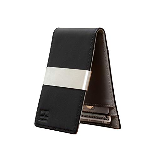 F&H Minimalist Slim Leather Wallet Money Clip Holds 8 Cards (Black/Grey) (Best Money Clip Wallet)