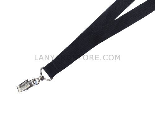 "3/4"" Wide Black ID Badge Holder Lanyard in with Bulldog Clip Attachment (Qty. 100)"