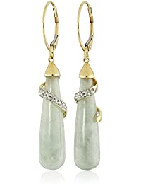 10k Yellow Gold Genuine Green Jade and Diamond Leverback Drop Earrings