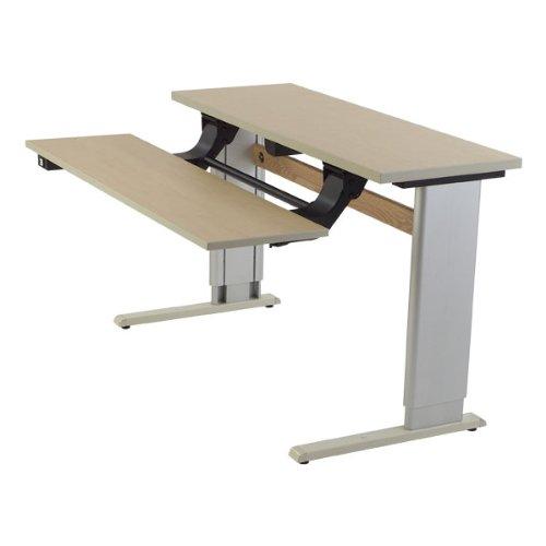 Adjustable-Height Bi-Level Computer Workstation - Power Adjustment