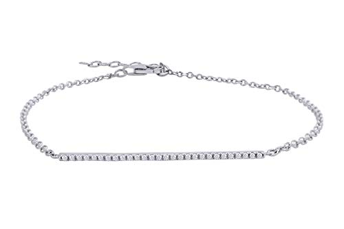 (Aria Jewels Diamond Bar Bracelet with Micro Pave Setting in 14K White Gold Plated Sterling Silver )