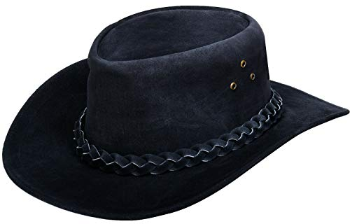 Australian Unisex Black Western Style Cowboy Outback Real Suede Leather Aussie Bush Hat XL ()
