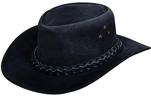 Ladies Black Oiled Cowhide - Australian Unisex Black Western Style Cowboy Outback Real Suede Leather Aussie Bush Hat L