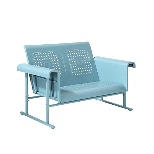 Crosley Furniture Veranda Patio Gliding Loveseat in Caribbean Blue