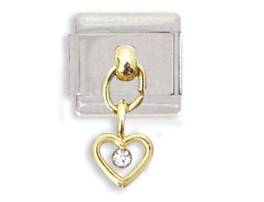 Clearly Charming Crystal Open Heart Dangle Italian Charm