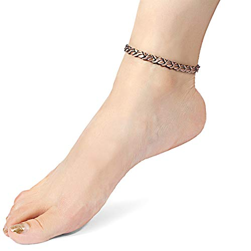 RainSo Womens Copper Magnetic Therapy Anklets Pain Relief for Arthritis Adjustable