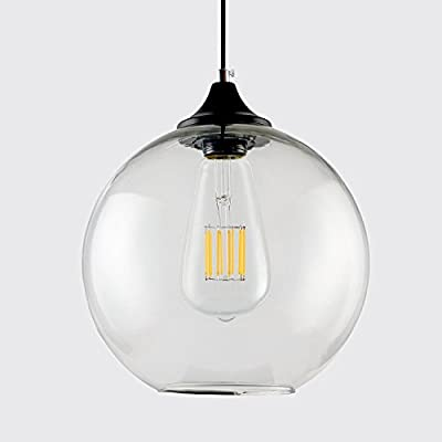 CRLight Edison Style Industrial Vintage Creative Pendant Lamp, 1 Light Fixture with Transparent Globular Glass, Smooth Black Cord and Metal Canopy Kit (Bulb Not Included)