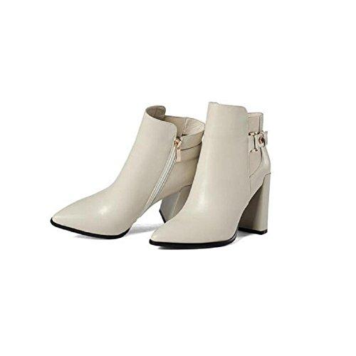 Greggio documentario punta stivali alla caviglia scarpe stivali tacco alto in pelle Slim Boot donna , white , 36 WHITE-35