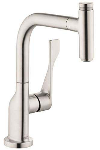AXOR Citterio Luxury 1-Handle 13-inch Tall Stainless Steel Kitchen Faucet with Pull Down Sprayer Magnetic Docking Spray Head in Steel Optic, 39861801