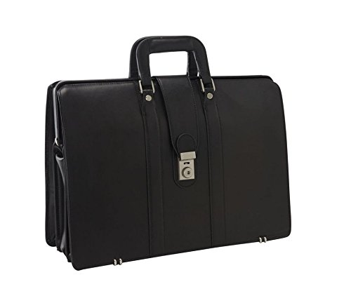 Bellino Lawyer's Leather Laptop Case Briefcase, Black by Bellino