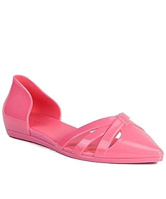 Jelly Pointy Toe D'Orsay Slip On Ballerina Ballet Flat Coral (8)
