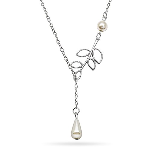 Katie's Style Simulated Pearl and Leaf Charm Women Fashion Y-Style Lariat Pendant Necklace Jewelry Gift