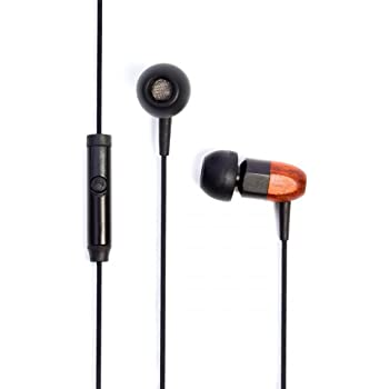 Thinksound ts02+mic 8mm Noise Isolating Wooden Headphone with universal 1 button microphone (Black/Chocolate)
