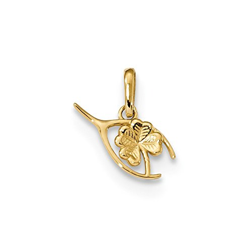 Diamond2Deal 14k Yellow Gold Childrens Wishbone Clover Pendant ()