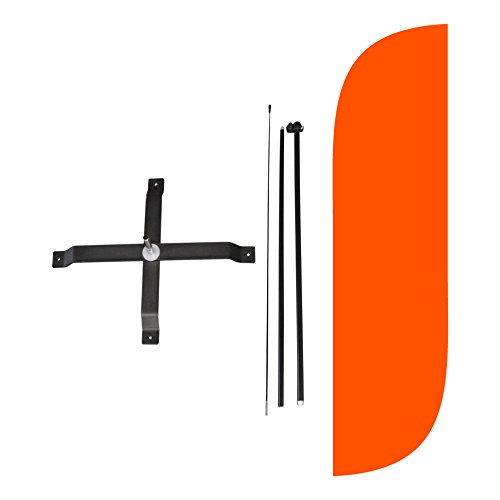 (LookOurWay Solid Color Orange Feather Flag Complete Set with Poles & X-Stand, 5-Feet )