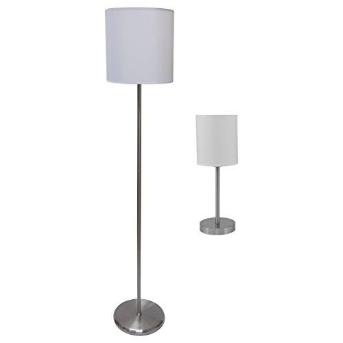 Slimline Contemporary Table Lamp (LEDU L9135 Slim Line Lamp Set, White/Silver)