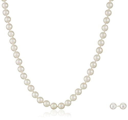 14k Yellow Gold Akoya Cultured Pearl Necklace and Stud Earring Set (6.5-7mm) by Amazon Collection