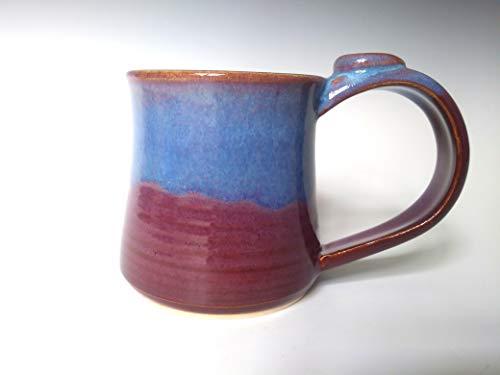 Swirl Teacup - Ceramic Mug ~ Pottery Coffee Tea Cup ~ Purple Violet with Blue Swirl ~ Handmade Stoneware ~ 10-12 oz. Coffee Mug