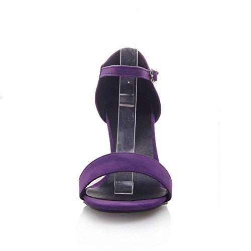 la Alto de con Mujer de para Mujeres Sandalias Mujer de Satén Verano Clásico Palabra Zapatos Purple Sandalia los Sandalias Pulsera Código de Tacón 7wqxHUE