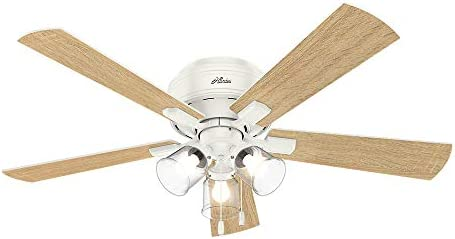 Hunter Crestfield Indoor Low Profile Ceiling Fan with LED Light and Pull Chain Control, 52 , Fresh White