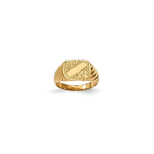 Roy Rose Jewelry 14K Yellow Gold Polished Baby Rectangle Signet w/Stripes Ring ~ Size 2.5 (Ring Gold Rectangle Baby Yellow)