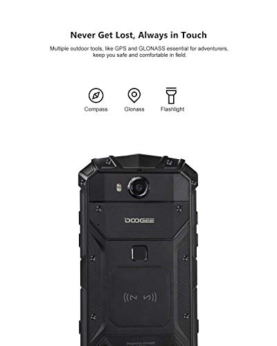 DOOGEE S60 Lite Unlocked Rugged Smartphones, 4G Rugged Cell Phones Android 8.1, 5.2 inch 5580mAh IP68 Waterproof Dropproof Octa-Core 4GB+32GB, 16.0MP+8.0MP Camera, Support NFC Wireless Charging, Black