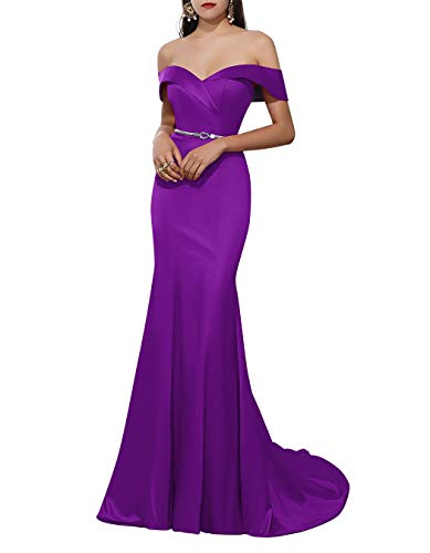 ALAGIRLS Women Off The Shoulder Satin Mermai Long Prom Dresses Bodycon Formal Evening Gowns Purple US26Plus