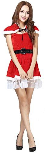 FEDO DESIGN Women's Bud Silk Skirt Novelties Sweet Miss Santa Baby Suit Set Dress Christmas Deluxe Adult 0275