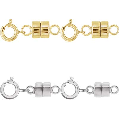 2 - Each New Solid 14k Yellow Gold and 2 - New Solid 14K White Gold Round Magnetic Clasp w/ 14K White Gold 5mm Spring Ring Clasp for Necklaces, Bracelets, and Anklets - Jewelry By Sweetpea ()