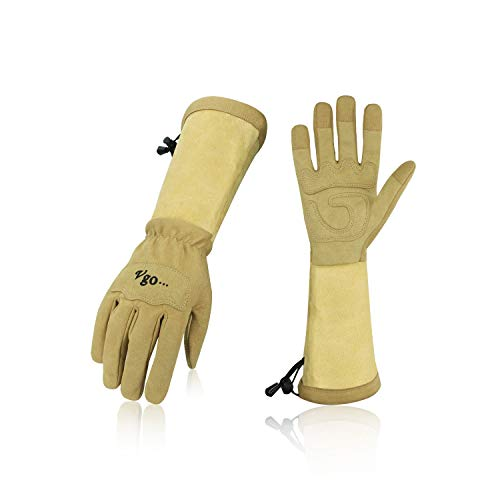 Vgo Ladies' Synthetic Leather Palm with Long Pig Split Leather Cuff Rose Garden Gloves (1Pair,Size M,Brown,SL6592W)