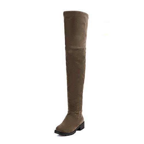 Zipper Boots Khaki Women's Solid Low Allhqfashion Heels top High Frosted 0qn1z8p
