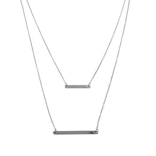 HONEYCAT Silver Double Bar Layered Long Chain Necklace | Celebrity Style, Minimalist, Delicate Jewelry
