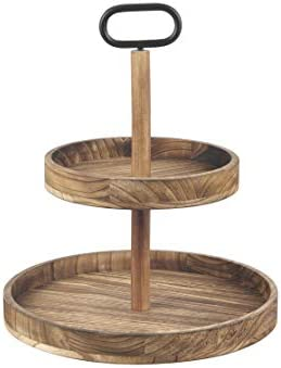 OUER MXARLTR Tiered Tray Wooden 2-Tier Decorative Trays, Vintage Decor, Round Wooden Platter for Macaron Plate Cakes, Fruits, Desserts Fruits Snack Candy Buffet Display Cake Stand - Carbonized Black