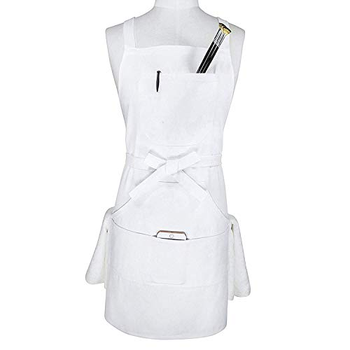 Aiden Brothers - Soft Cotton Canvas Professional Bib Kitchen Apron with Cross Back Straps + Fasten/Quick Release Buckle + 5 Pockets + 2 Towel Loops for Artist Cooking, Adjustable M to XXL, 27