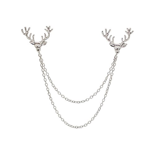 Hot Unisex Deer Head Tips Double Link Chains Tassels Collar Pins Brooch Clip Pin Brooches