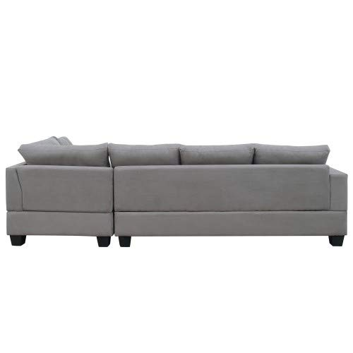 Harper & Bright Designs 3 Piece Sectional Sofa Microfiber with Reversible Chaise Lounge Storage Ottoman and Cup Holders (Gray)