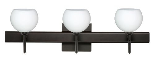 Besa Lighting 3SW-565807-BR-SQ 3X40W G9 Palla 5 Wall Sconce with Canopy Opal Matte Glass, Bronze Finish